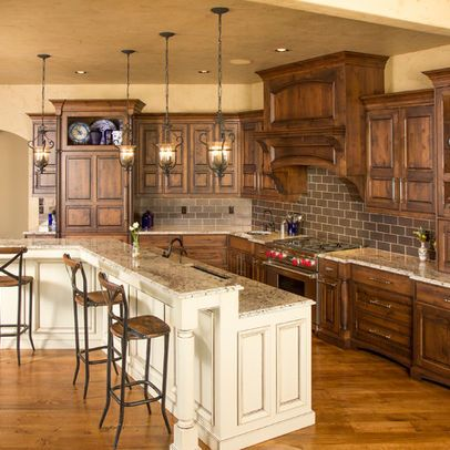 Two Toned Country Style Kitchen Cabinets. Rustic Two Toned Cabinets